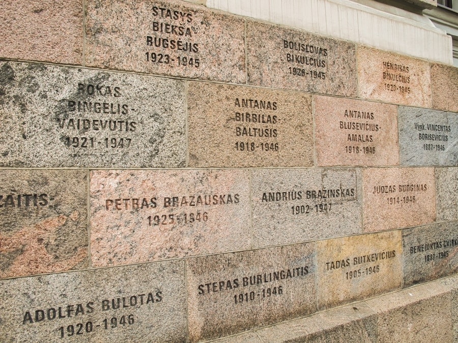 museum of genocide victims in vilnius lithuania outside artwork and memorials-1-min