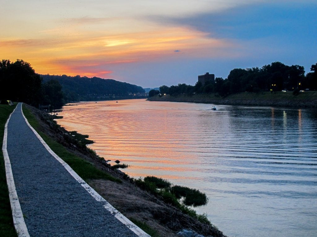 Walking along the river at sunset in Charleston, West Virginia