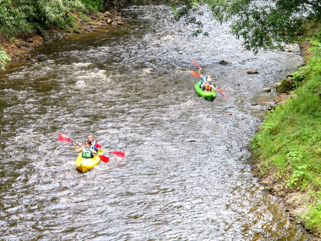 Rafting down the river on the way to the Hill of the Three Crosses (or Trys Kryziai) in Vilnius