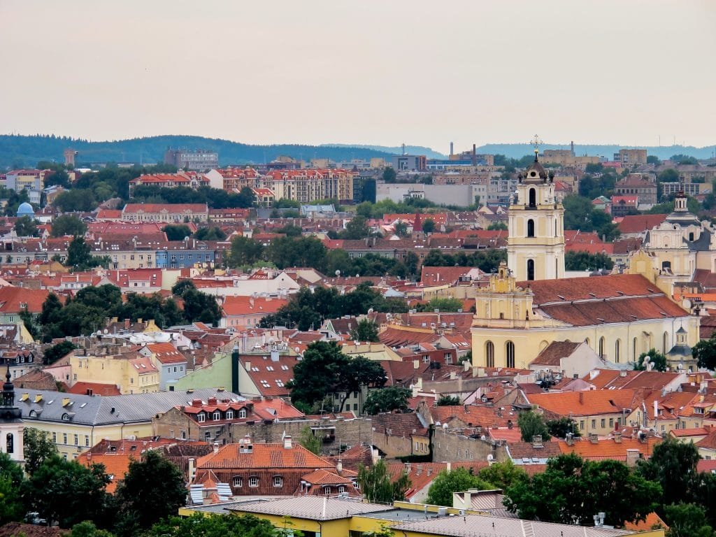 Looking over Vilnius from Hill of the Three Crosses (or Trys Kryziai) in Lithuania