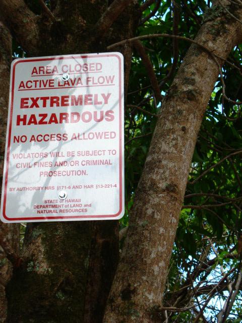 Lava warnings in Kalapana, Hawaii