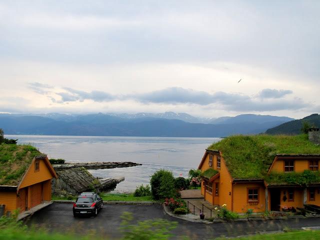 Grass roof houses on the Hardangerfjord