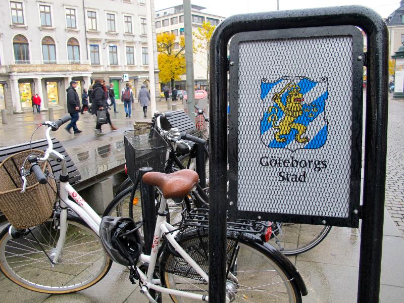 Bikes and signs in Gothenburg, Sweden