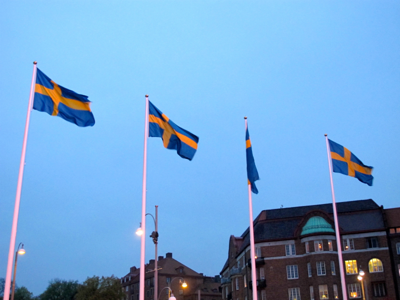 Swedish flags in Gothenburg, Sweden