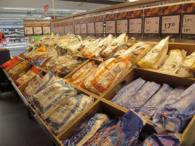 Norwegian bread section of a supermarket