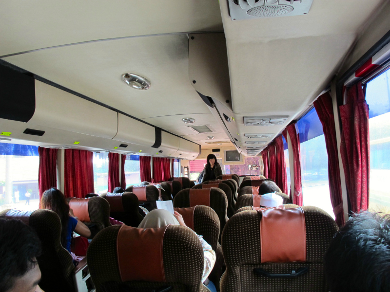 Inside the bus from Kuala Lumpur to Singapore