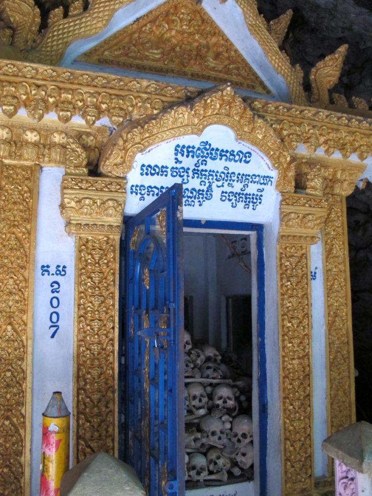 Human skulls in Laang Lacaun, or the Killing Caves, in Battambang