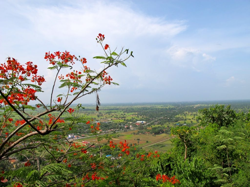 Overlooking the Cambodia countryside from Laang Lacaun, or the Killing Caves, in Battambang