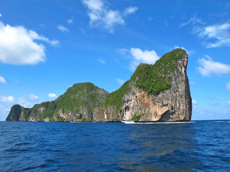 Approaching Phi Phi Leh off the coast of Thailand