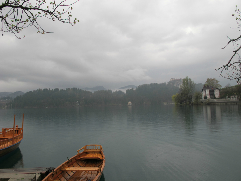 Lake Bled on a grey day.