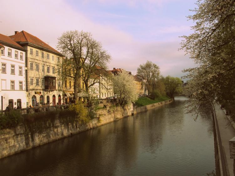 downtown in Ljubljana, Slovenia