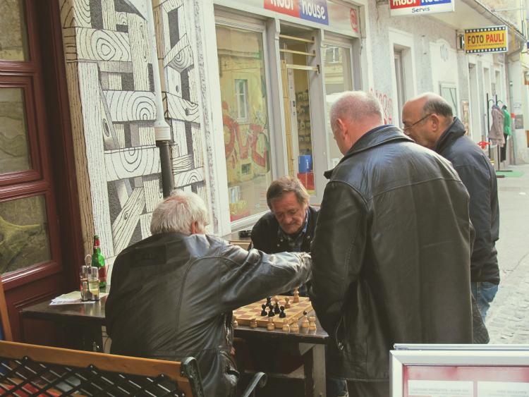 Locals playing chess in Ljubljana, Slovenia