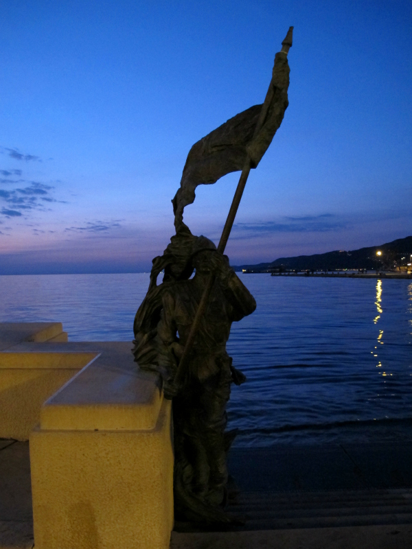 Waterfront at dusk in Trieste, Italy