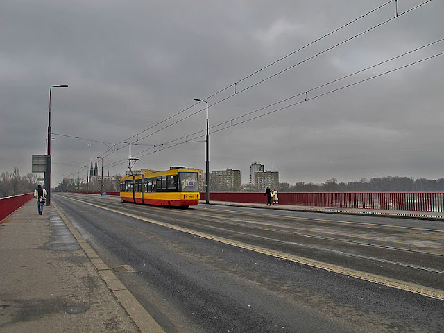 Trams over the bridge to and from Praga in Warsaw, Poland