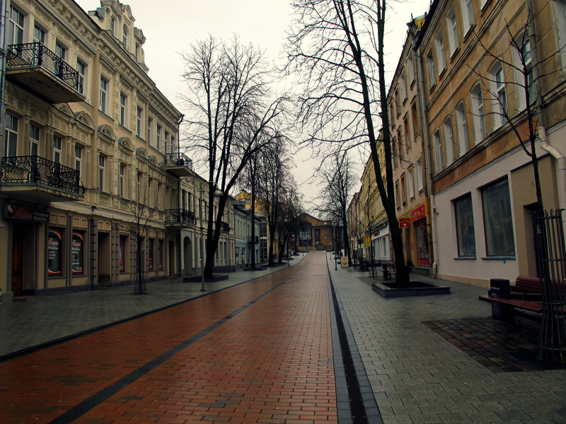 Red brick street in Daugavpils, Latvia