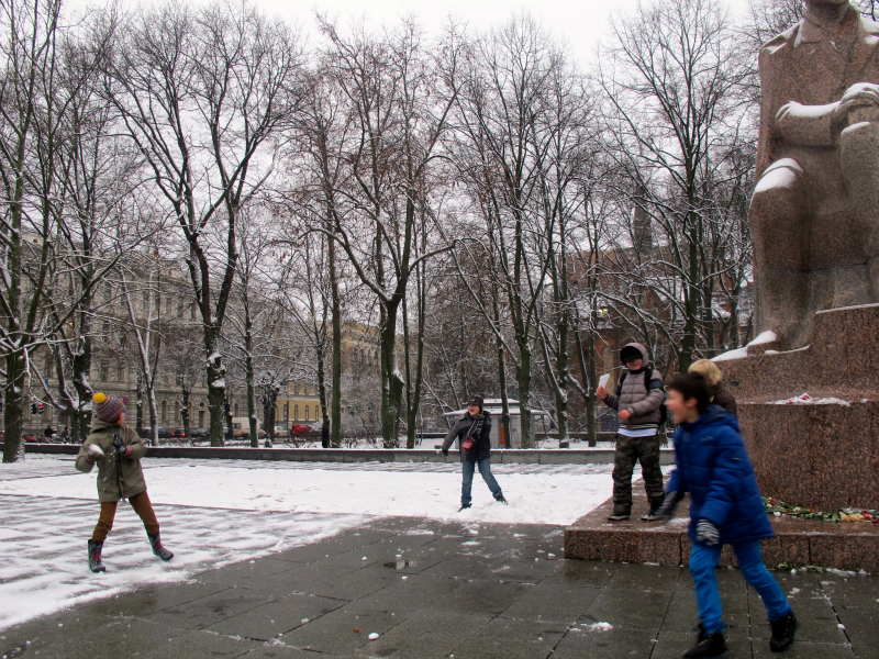 Kids enjoying winter in Riga, Latvia