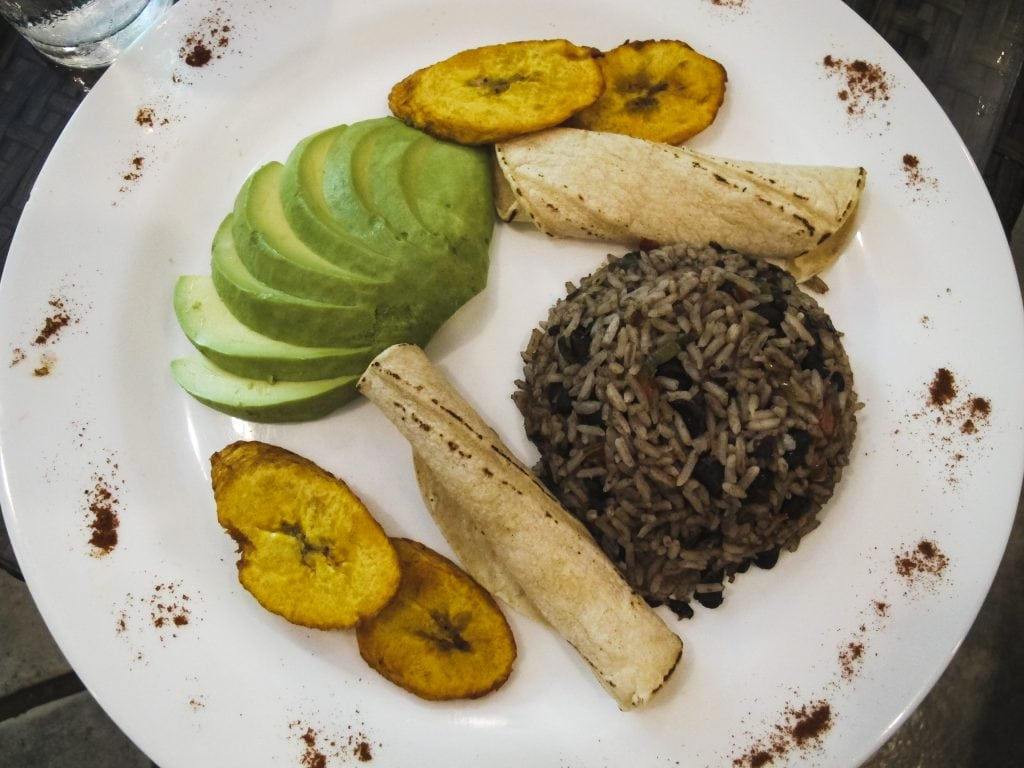 A casado with avocado, rice and beans, plantains, and tortillas in Montezuma, Costa Rica. Vegetarians rejoice!