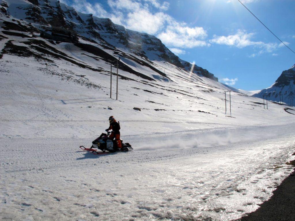 Snowmobiling in Longyearbyen in Svalbard, Norway
