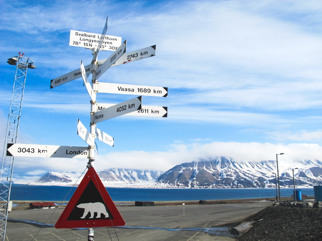 Polar bear sign in Longyearbyen in Svalbard, Norway