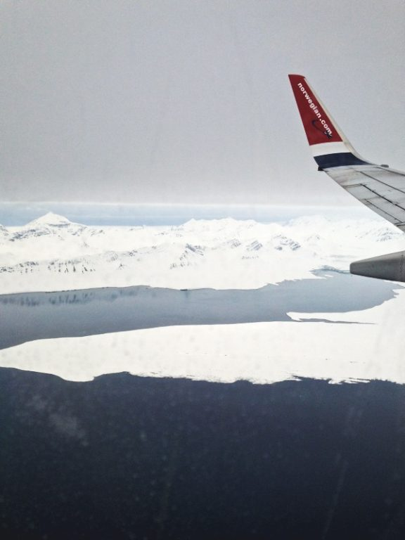 View from Norwegian Air going to Longyearbyen in Svalbard, Norway