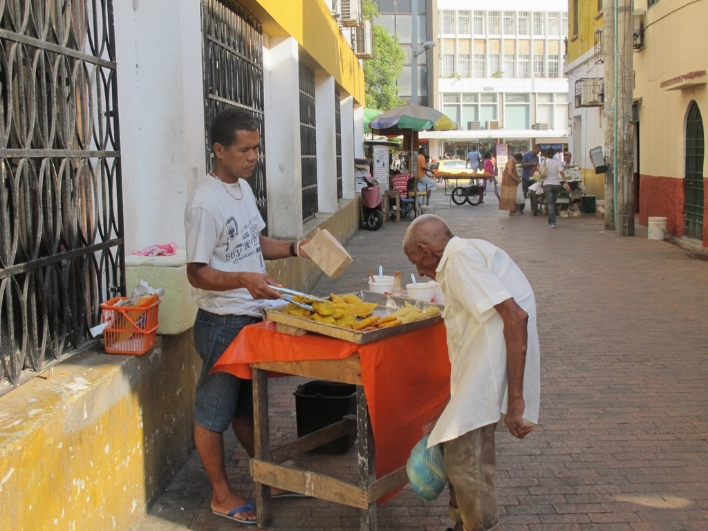 Street food and locals in Cartagena, Colombia