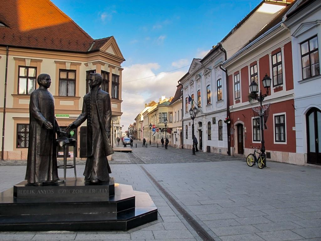 Statue of Jedlik Ányos and Czuczor Gergely of Gyor, Hungary