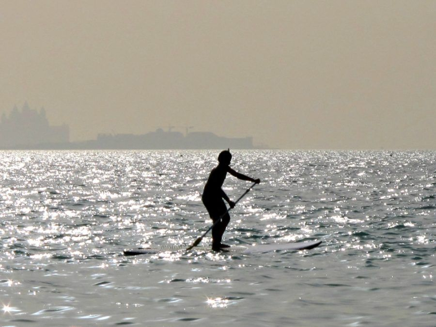 Paddle boarding at Kite Beach in Dubai