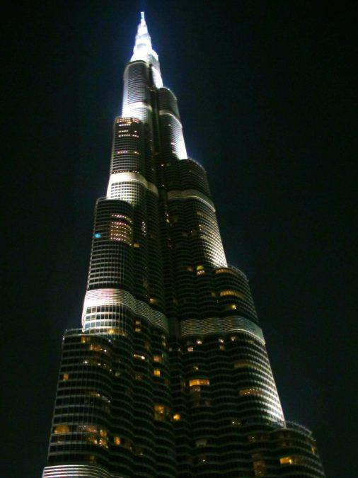 Burj Khalifa at night in Dubai