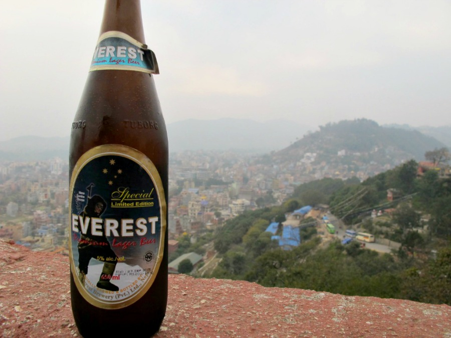 Everest beer overlooking Kathmandu from Swayambhunath temple (Monkey temple)