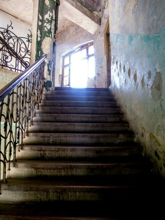 Abandoned building's stairs in Medias, Romania