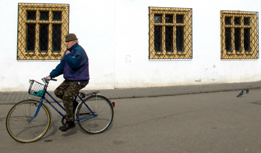 Cyclist in Medias, Romania