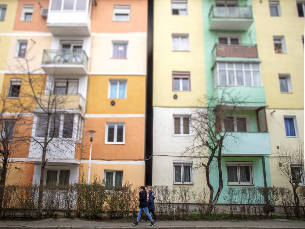 Apartment blocks in Medias, Romania