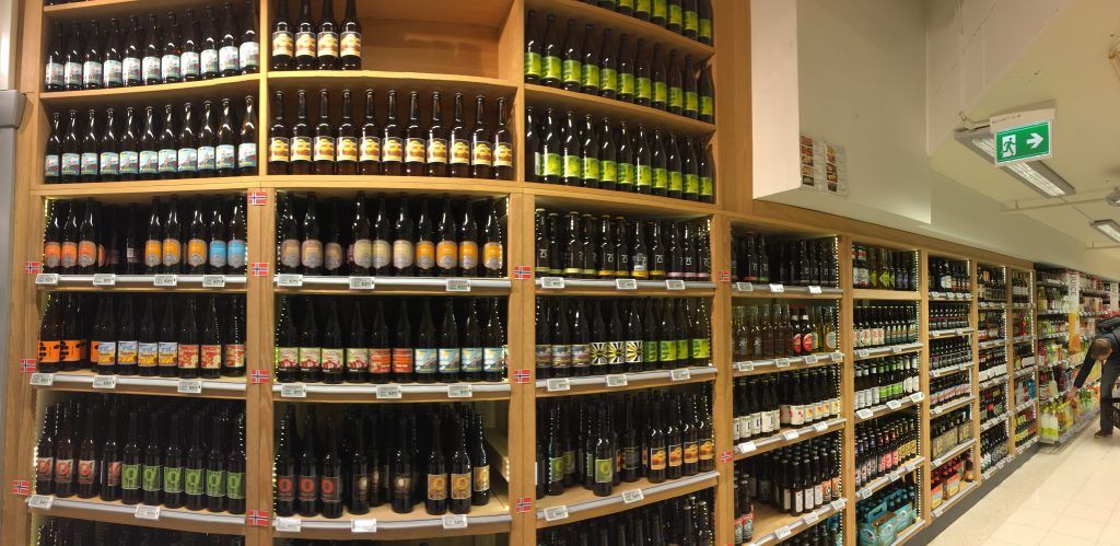Craft beer selection at Meny grocery store in Majorstuen, Oslo.