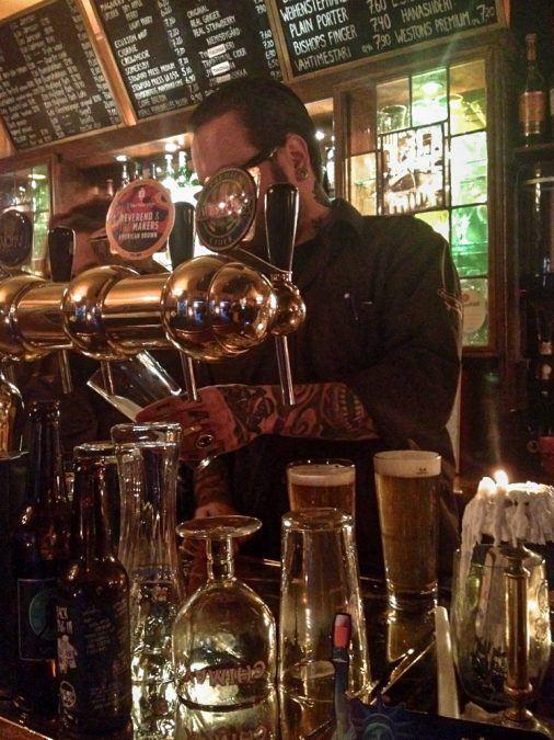 Bartender at Hilpeä Hauki in Kallio, Helsinki