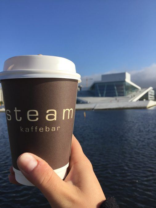 Coffee from Steam in Oslo in front of the Opera House