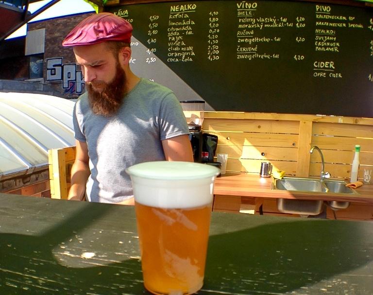 Hipster in Bratislava serving up some craft beer