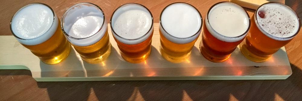 A flight of beers at Islamorada Beer Company in the Florida Keys