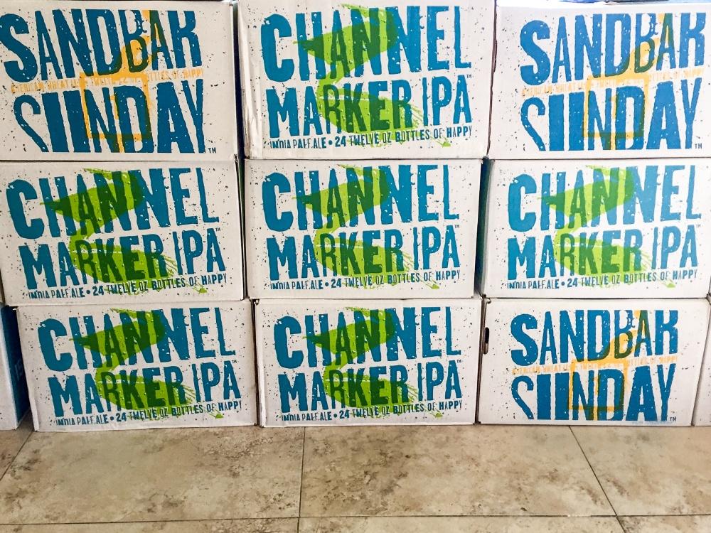 Boxes of Channel Marker IPA and Sandbar Sunday at Islamorada Beer Company in the Florida Keys