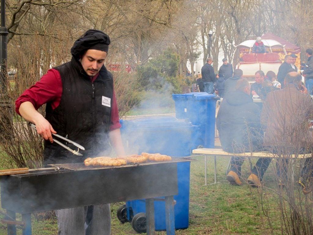 Shashlik grilling in Pobeda Park in Tiraspol, Transnistria for Maslenitsa
