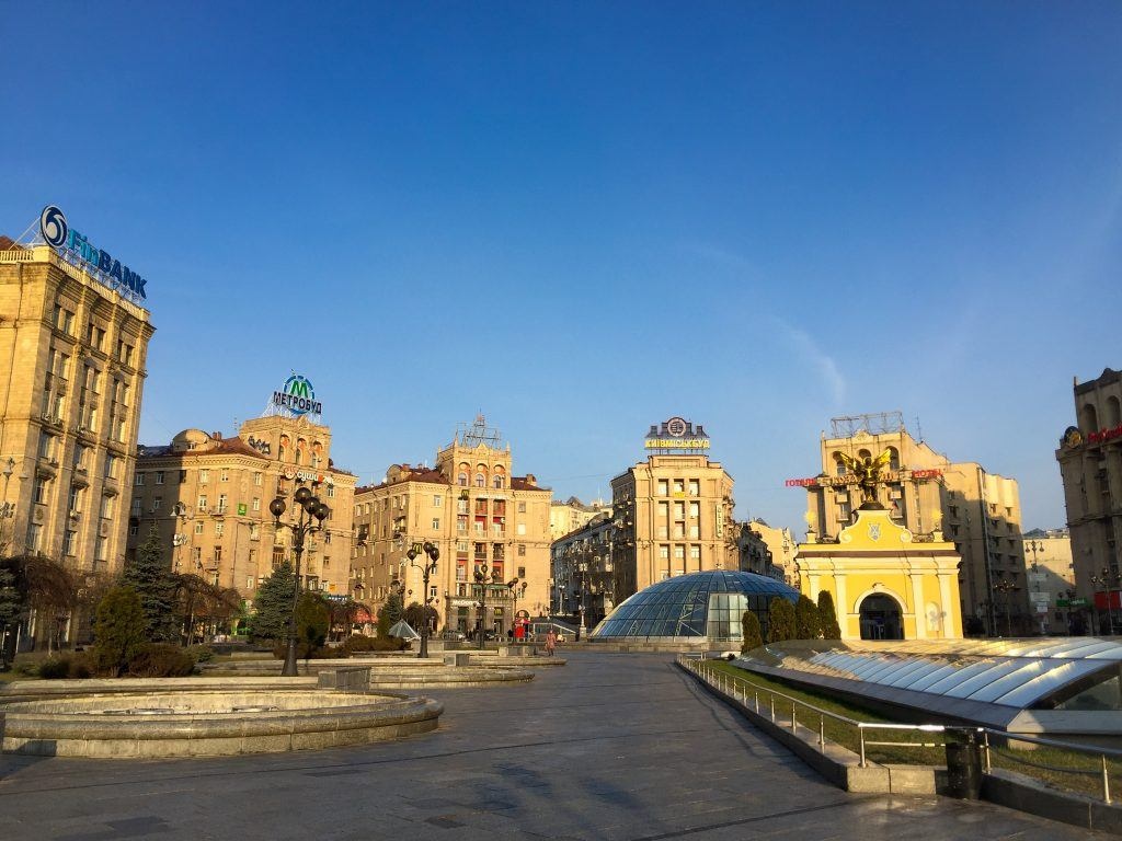 Maidan Kiev in the sunshine