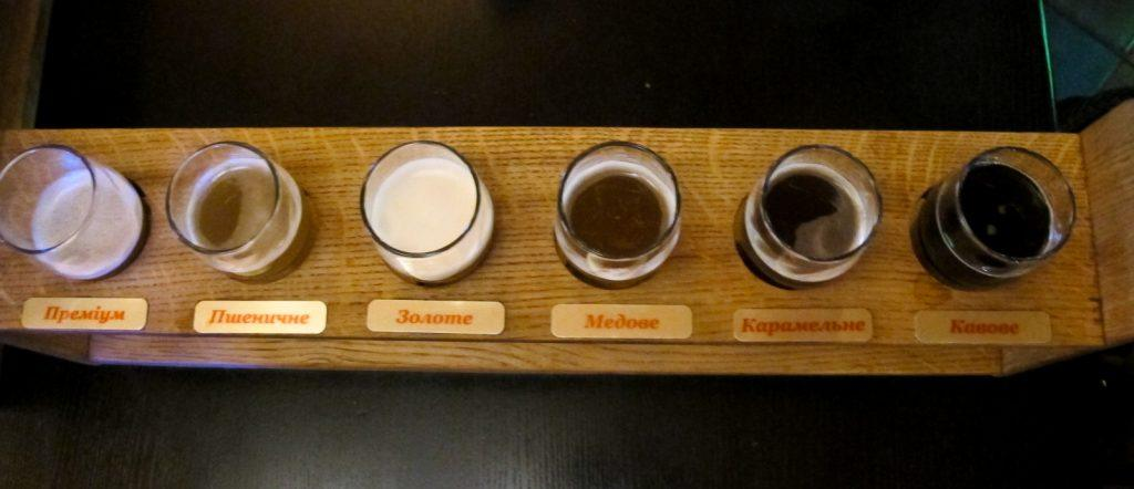 Beer flight at Pivarium in Kiev