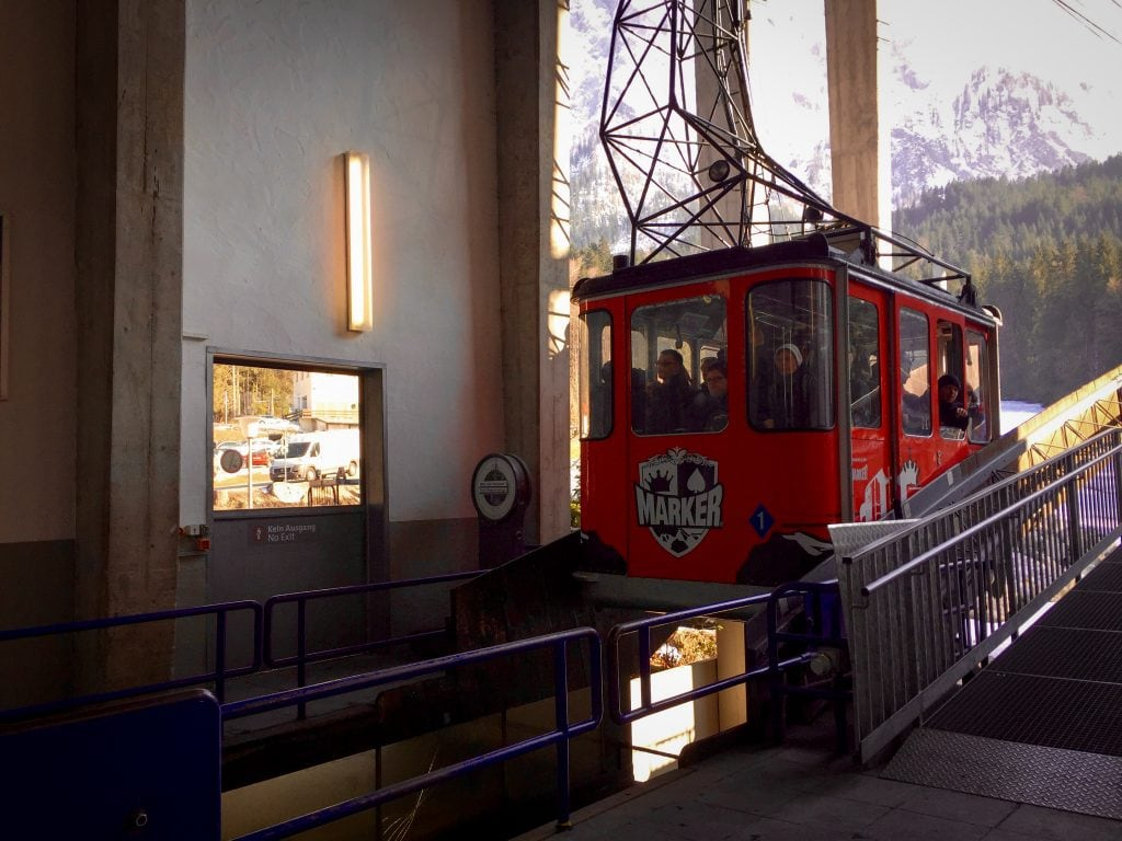 The cable car that goes up to Zugspitze near Garmisch-Partenkirchen, Germany