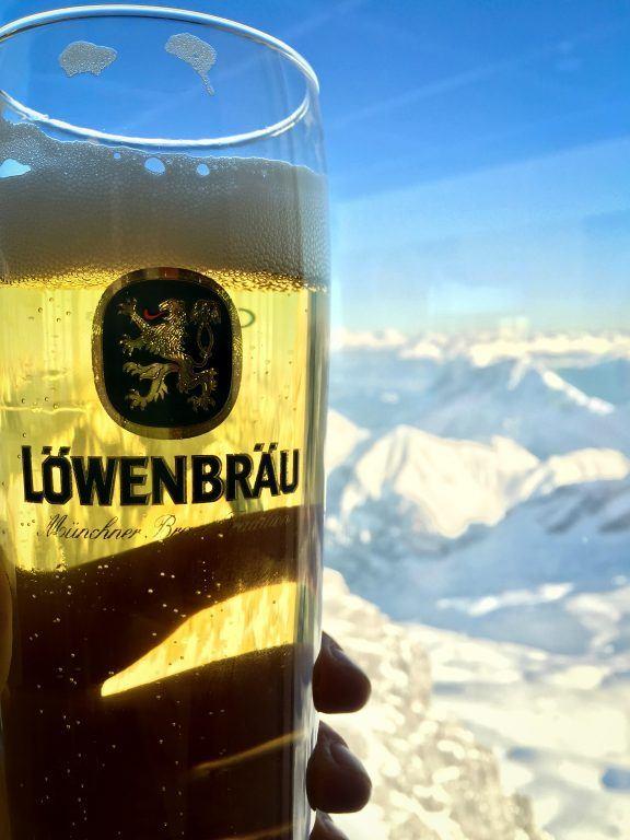 Lowenbrau beer atop Zugspitze