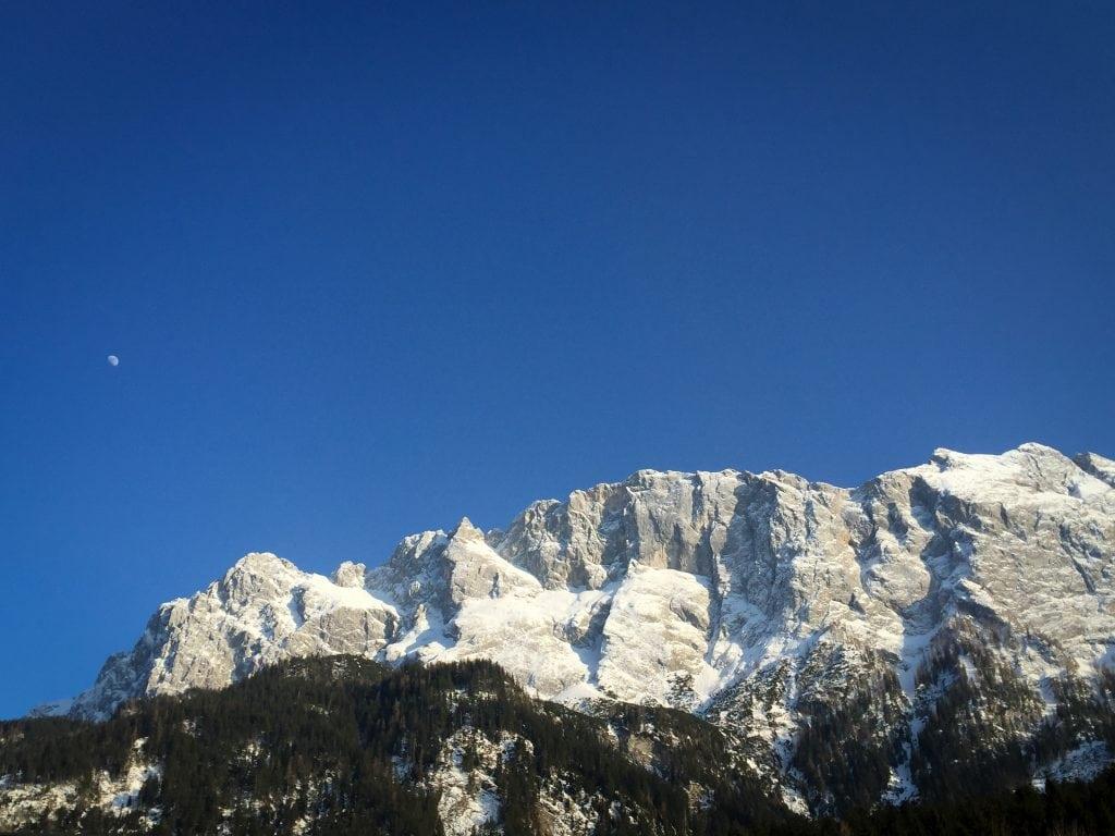 Almost dusk in Garmisch-Partenkirchen, Germany overlooking Zugspitze