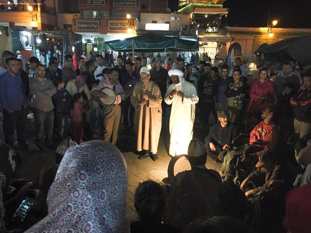 Jemaa el-Fnaa in Marrakech, Morocco at night market