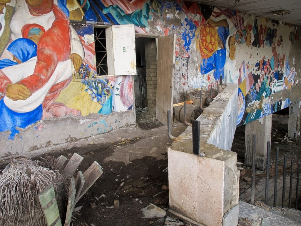 Visiting the Chernobyl Exclusion Zone; art in Pripyat, Ukraine