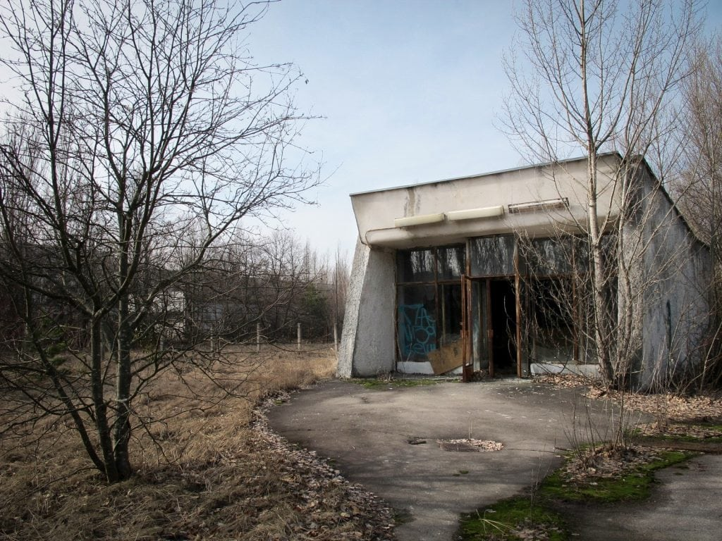 Visiting the Chernobyl Exclusion Zone; abandoned building in Pripyat, Ukraine