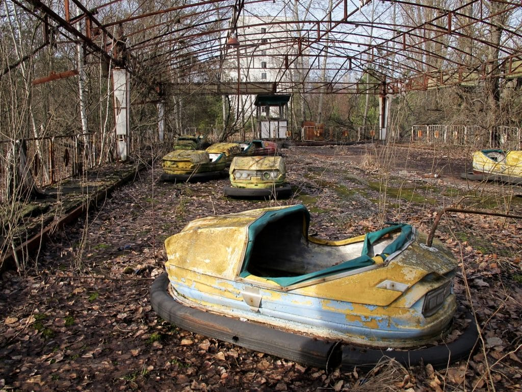 Visiting the Chernobyl Exclusion Zone; bumper cars in Pripyat, Ukraine