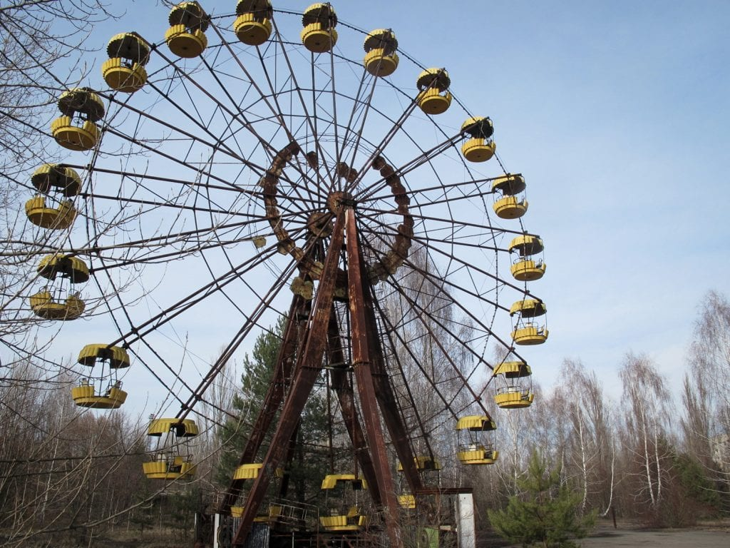 Visiting the Chernobyl Exclusion Zone; ferris wheel in Pripyat, Ukraine