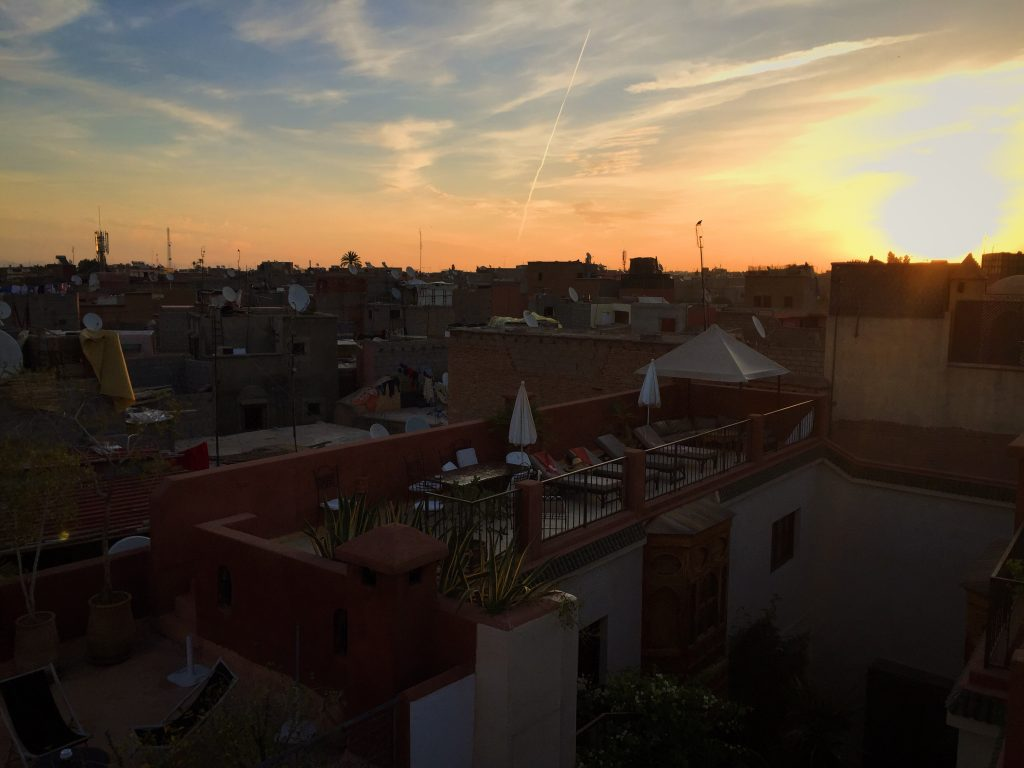 Sunset at Riad Dar Nimbus in Marrakech, Morocco